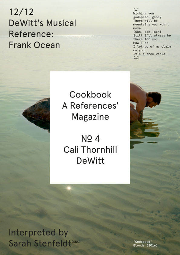 Cookbook. A References' Magazine. No 4 Cali Thornhill Dewitt. Fascicle 12/12 Cover